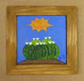 Decorative Wood Frame with Hand Painted Ceramic Cactus