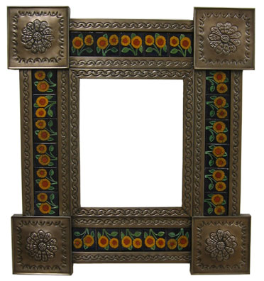 Mexican Tin Mirror with Talavera Tiles