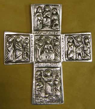 Mexican Pewter - Cross with 12 Apostle Design