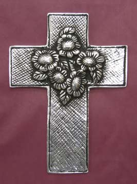 Mexican Pewter - Cross with Daisy Bouquet