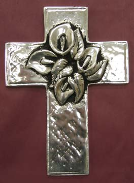 Mexican Pewter - Cross with Lilly Bouquet