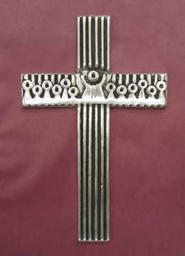 Mexican Pewter - Cross with Last Supper Design