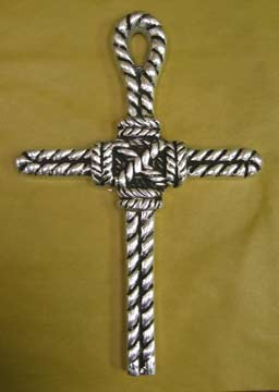 Mexican Pewter - Rope Cross with Knot Design