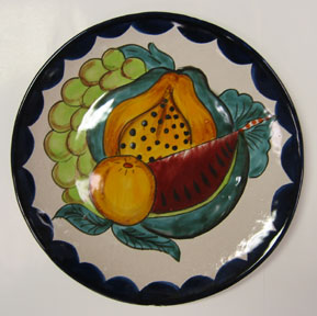 Mexican Pottery - Talavera Plate with Fruit Design